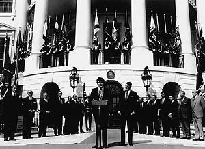 Ruud Lubbers at the White House with Ronald Reagan